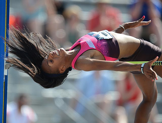 Silver medalist at the London Games, Brigetta Barrett won the event at nationals by clearing 6 feet, 8.25 inches.