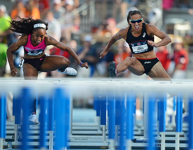 Brianna Rollins (left) set an American record in the 100-meter hurdles, running a 12.26 to break the mark of Gail Devers in 2000. Lolo Jones (right) finished fourth.