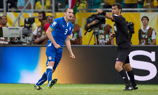Referee Ravshan Irmatov awarded Giorgio Chiellini a goal despite calling for a penalty initially.