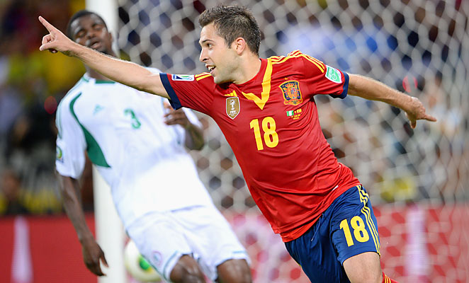 Jordi Alba scored the third and fourth goals of his Spain career against Nigeria on Sunday.