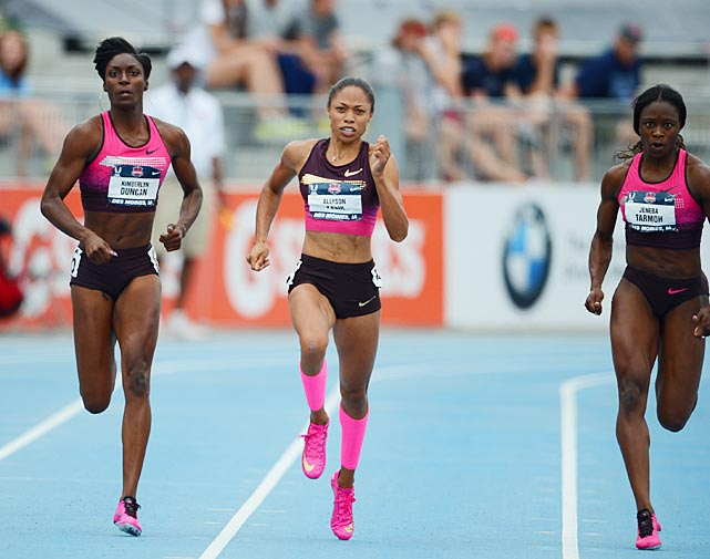 Kimberlyn Duncan (left), the only sprinter in collegiate history -- male or female -- to sweep NCAA Indoor and Outdoor championships in the 200 in three-consecutive seasons, knocked off Olympic gold medalist Allyson Felix at nationals. The LSU product was clocked at 21.80 seconds, while Felix (center) finished second in 21.85. Jeneba Tarmoh took third.
