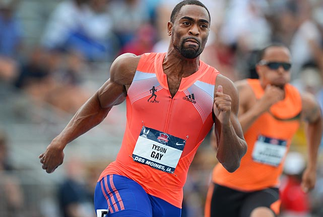 After winning this semifinal heat of the 200, Tyson Gay went on to take the final in a time of 19.74 -- the fastest time in the world this year.