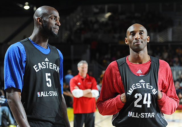 Kobe Bryant (right) and Garnett talk during the NBA All-Star practice in Houston. Garnett made 12 consecutive All-Star appearances from 2000 to 2011.