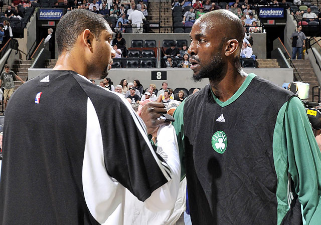 Tim Duncan (left) and Garnett shake hands before a game between the Celtics and Spurs. Garnett and Duncan have dominated the power forward position over the past decade and a half.