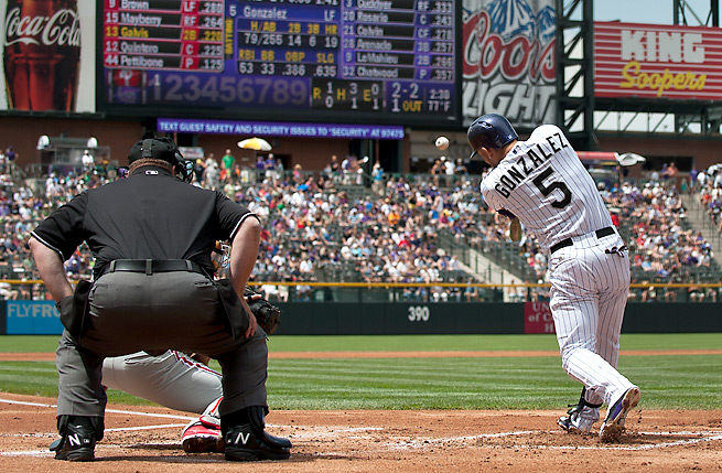 Carlos Gonzalez has averaged 30 home runs and 24 steals, with a .299 average, over 162 games in his career.