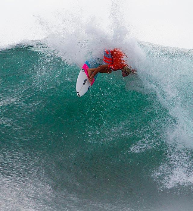 Australian Adrian Buchan surfs during a contest in Denpasar, Bali, Indonesia