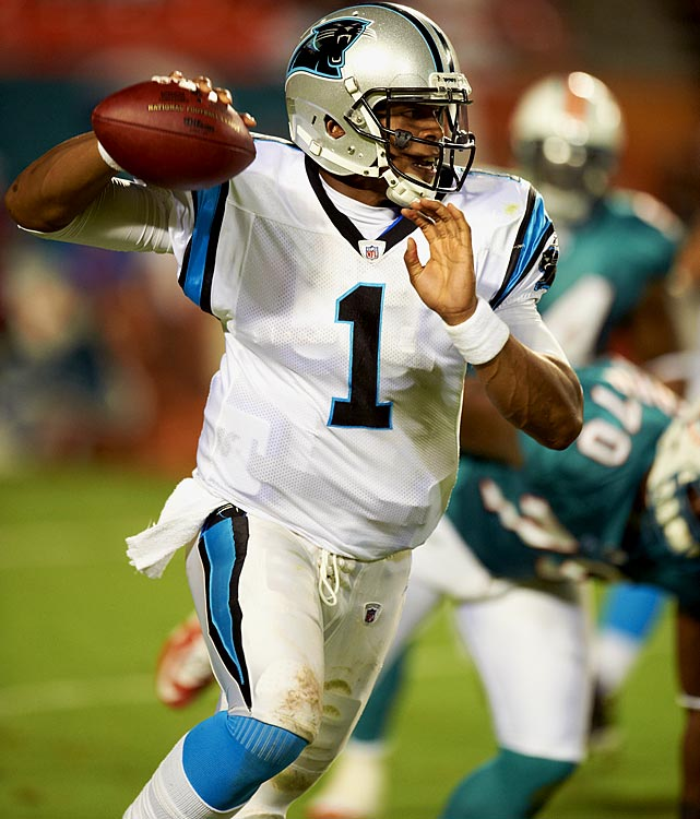 Newton became the first rookie to throw for 400 yards in his first game, breaking Peyton Manning's record for most passing yards by a rookie on opening day. Newton was the first rookie to throw for over 4,000 yards and was named Offensive Rookie of the Year.