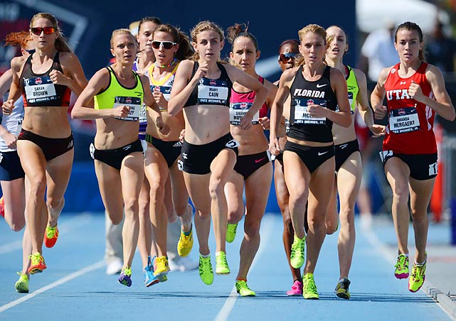 Seventeen-year-old Mary Cain (third from left) finished second in the 1,500-meter final at the 2013 Outdoor Track and Field Championships at Drake University in Des Moines, Iowa. With that finish, Cain qualified for the World Championships in Moscow.