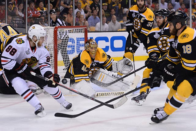 Blackhawks winger Patrick Kane (88) won the Conn Smythe Trophy as postseason MVP. Although the Bruins' defense kept him off the score sheet in Game 6, Kane got hot when it mattered most for Chicago, scoring seven goals in the team;s final eight postseason games.