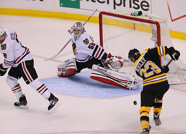 With his team on the brink, but in the comforting confines of home ice, Chris Kelly gave the Bruins a 1-0 lead at 7:19 of the first period with assists from Tyler Seguin and Daniel Paille.