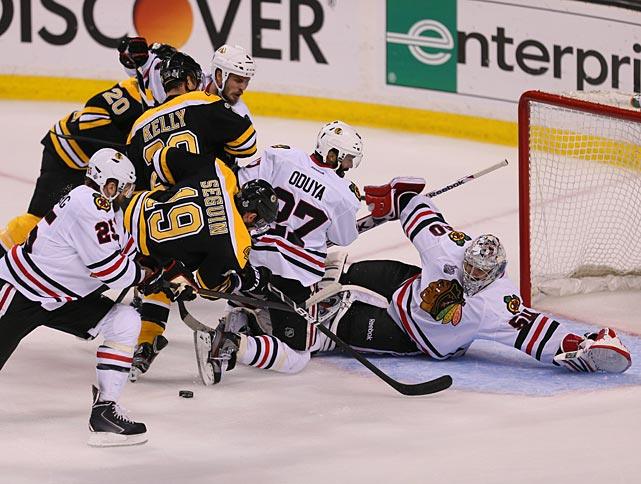 "Blackhawks goaltender Corey Crawford was overshadowed by Boston counterpart Tuukka Rask for much of the series, but after a shaky 6-5 Game 4 win in which he was beaten five times to the glove-hand side, he rose to the occasion in the final two matches. In Game 6, he made 23 saves. ""I still can't believe that finish. Oh my God, we never quit,"" he said. ""I never lost confidence. No one in our room ever did."""
