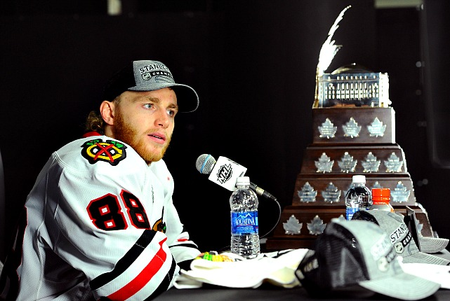 The Blackhawks winger is only the fourth American player, but the third in a row to win the NHL's postseason MVP honors. Kane came on strong late in the playoffs, scoring seven goals in Chicago's final eight games as the Hawks won their second Stanley Cup since 2010. His heroics included a hat trick in the decisive fifth game of the Western Conference Finals against the defending Cup champion Los Angeles Kings, a goal and OT assist in Game 4 of the Stanley Cup Final vs. Boston and two tallies In Game 5. In all, Kane finished with nine goals, 19 points and a plus-seven rating in 23 games.