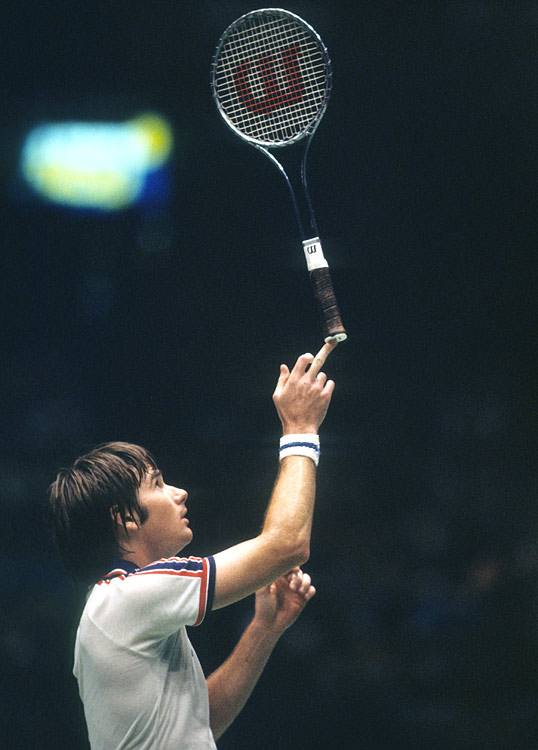 "Here's how <italics>Sports Illustrated</italics>'s Alexander Wolff described the Wilson T-2000 racket that Connors made famous during the 1970s and '80s: Connors had picked up the Wilson T-2000 racket for the same reason any teenager would, because its extruded-aluminum frame looked cool. Yet the T-2000 proved to be a perfect technical match for his game and far too temperamental for anyone else's. No one but Connors had the eye and the grooved ground strokes to find and exploit the racket's tiny sweet spot. ""Everybody thought I hit the ball hard -- I didn't hit the ball hard,"" he says, with a nod to the T-2000. As tennis journalist Peter Bodo puts it, Connors simply brandished 'a futuristic instrument that gleamed with the promise of heroic deeds and lethal power. It was Arthur and Excalibur all over again.'"""