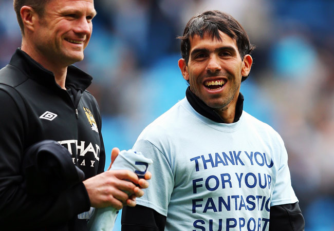 Carlos Tevez (right) spent the last four seasons at Manchester City.