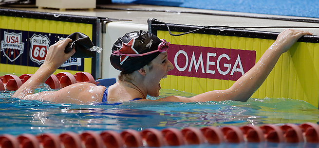Missy Franklin celebrates after winning the 100-meter freestyle during the U.S. National Championships.