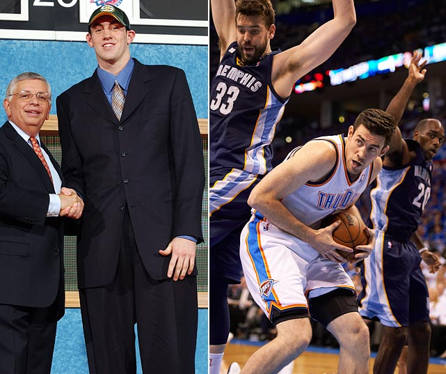Nick Collison missed the season following his selection at No. 12 due to injuries to both his shoulders. Collison is known for his defense as well as consistent play at power forward. Of the players on the team before its relocation to Oklahoma City in 2008, only Collison and Kevin Durant remain.