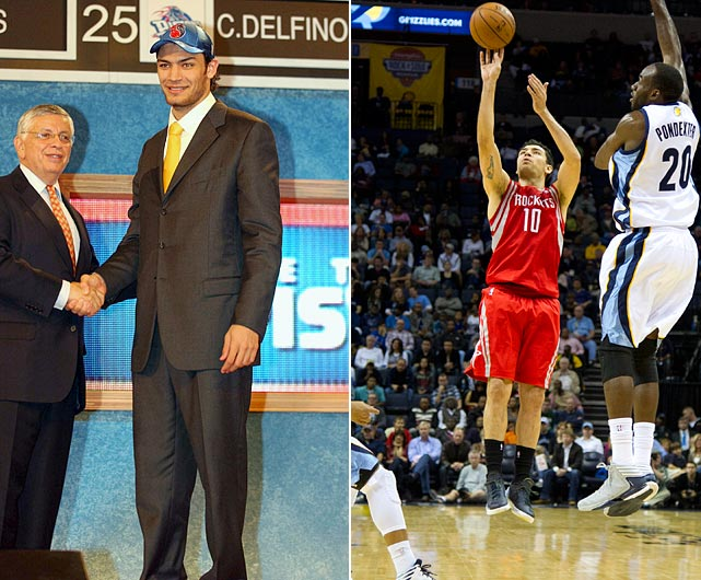 Carlos Delfino remained with Italian side Skipper Bologna until 2004, when he officially joined the Pistons. The Argentine has averaged 8.1 points per game in eight NBA seasons -- he spent 2008-2009 with Khimki in Russia -- playing with four teams. He has been with the Houston Rockets since 2012.
