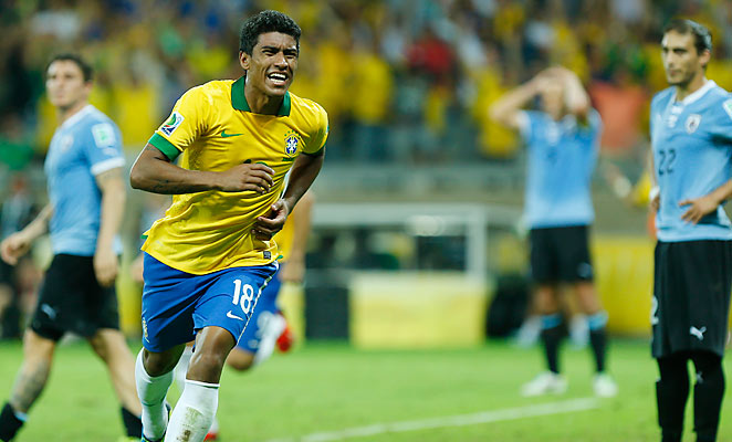 Paulinho scored late to give Brazil a 2-1 victory over Uruguay in the Confederations Cup semifinal.
