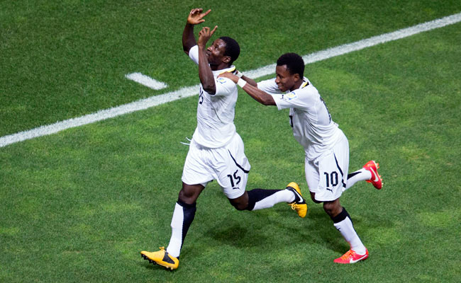 Ghana's Kennedy Ashia celebrates after putting his U20 side ahead, 4-1, over the United States.