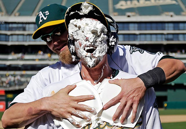 The A's infielder may be enjoying this Swedish massage a bit too much, so perhaps we should give him and his masseuse a moment alone.