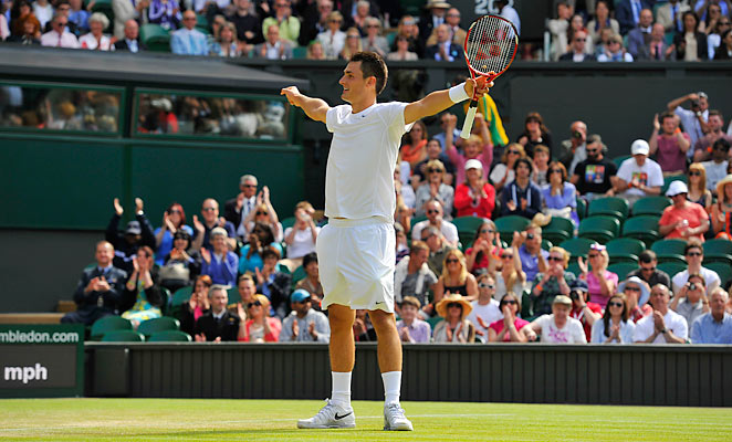 Tomic is playing Wimbledon as his father, who is also his coach, was barred from the tournament.