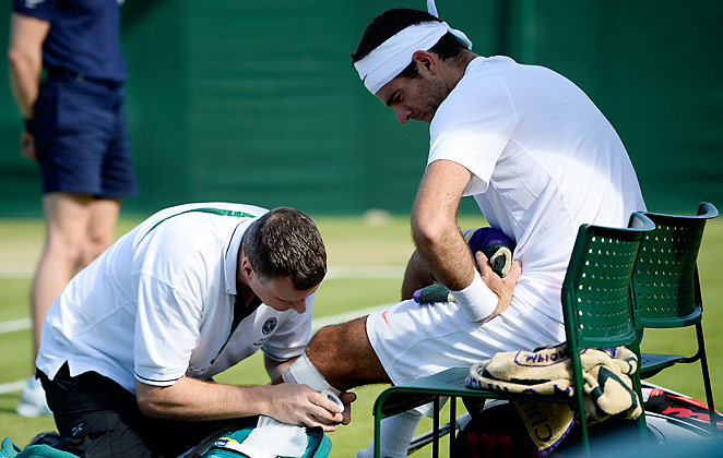 Juan Martin Del Potro had to get treatment after tough fall in his Wimbledon match on Saturday.