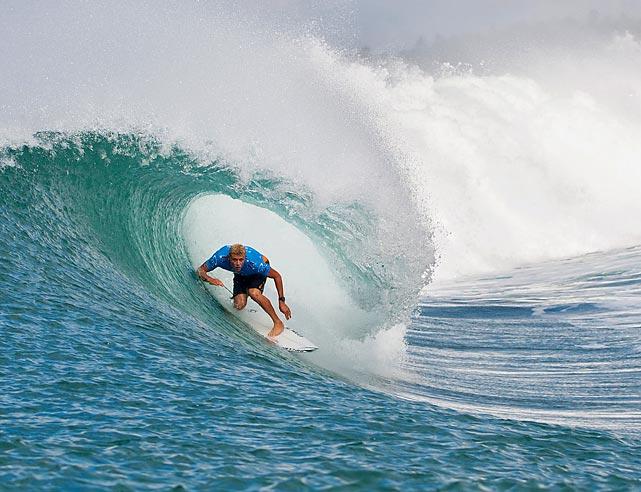 Mick Fanning of Australia surfs in Denpasar, Bali, Indonesia.