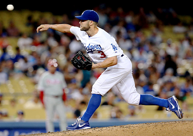 "Schumaker's scoreless inning of relief in the Dodgers 16-1 loss was his third career pitching appearance. The utility player's second pitch, a changeup in the dirt, bounced up and hit plate umpire Dale Scott in crotch, and after Schumaker got his first two hitters to fly out, he accidentally buzzed John Mayberry Jr. with a pitch (grabbing his head upon releasing the pitch and immediately telling Mayberry, ""sorry, man"") before walking him. The Phillies then loaded the bases on a Ben Revere double and a Carlos Ruiz walk, but Schumaker rallied to strikeout out pinch-hitter Humberto Quintero on a 90 mph fastball right down the middle to strand all three runners."