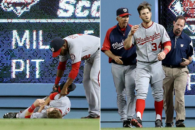 Harper received 11 stitches in his chin and jammed his shoulder, but didn't sustain a concussion after slamming into the scoreboard wall face-first while tracking a ball hit by A.J. Ellis over his left shoulder. Harper left the game in the fifth inning and the Nationals went on to beat the Dodgers 6-2 on May 13. Harper would pinch hit two days later, and return to the starting lineup the day after that.
