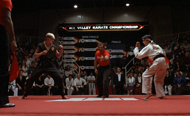 The Daniel LaRusso-Johnny Lawrence fight is one of the iconic scenes in the 1984 classic The Karate Kid.