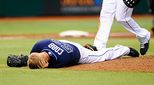 Alex Cobb was struck in the head by a liner from the Royals' Eric Hosmer on June 15.