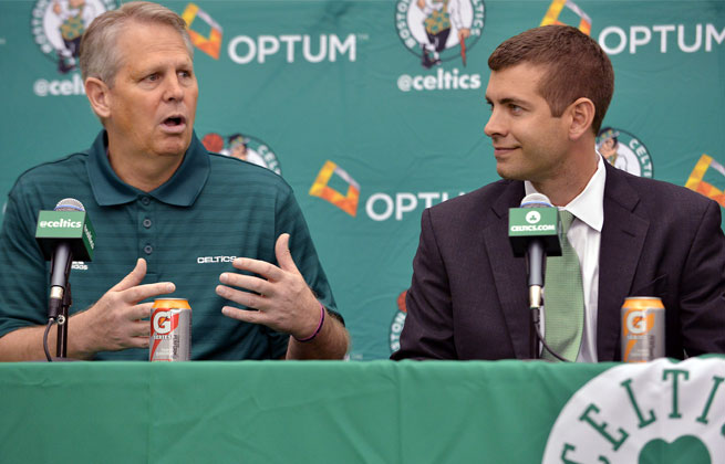 On Friday, Celtics GM Danny Ainge (left) kept gushing about how much he believes in Brad Stevens.