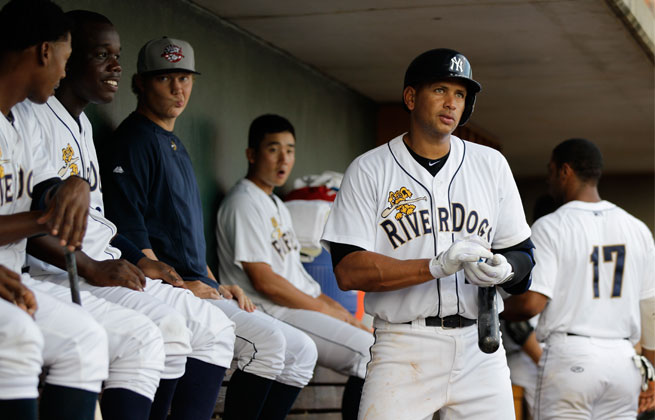 A-Rod got his first hit during his comeback after going 0 for 4 in his first two starts at Class A Charleston.