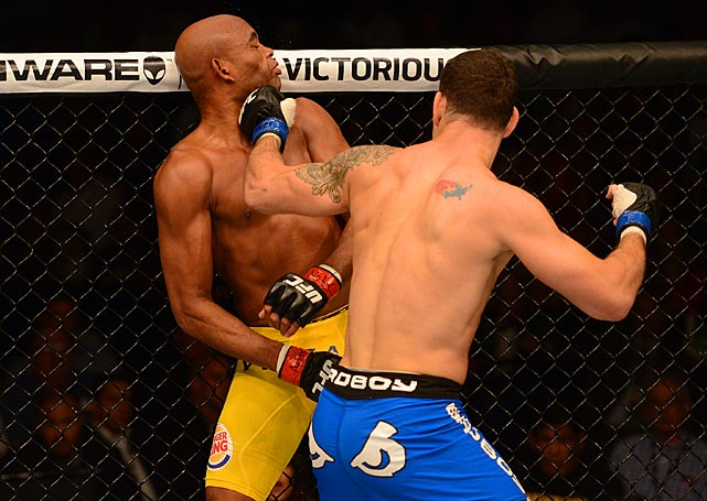 When the champion lowered his hands early in the second round, Weidman caught him with a short left that sent the MMA star to the mat.