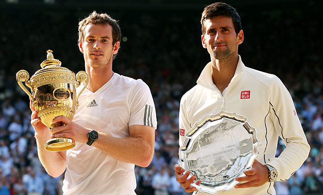 Andy Murray (left) become the first British man in 77 years to win the men's title at Wimbledon.