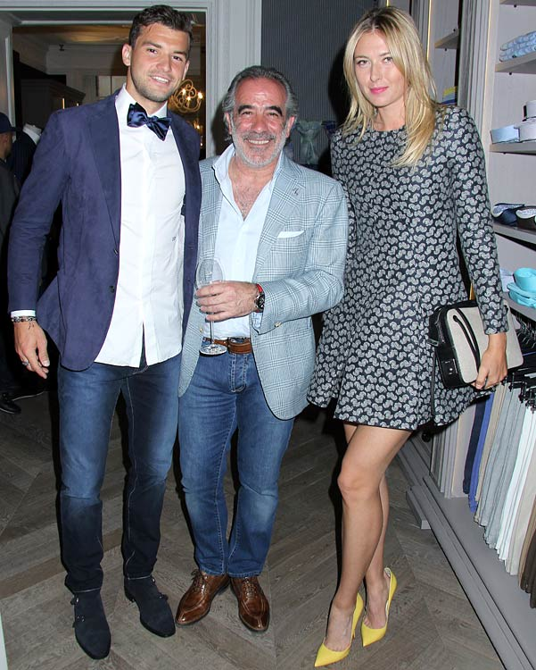 Sharapova and Dimitrov, pictured here with Tony Giallonardo (center), founder of Otto luxury menswear, were rumored to be dating since late 2012. The professional tennis players confirmed their relationship after the Madrid Open in May 2013, where Dimitrov upset No. 1 ranked Novak Djokovic in the second round.