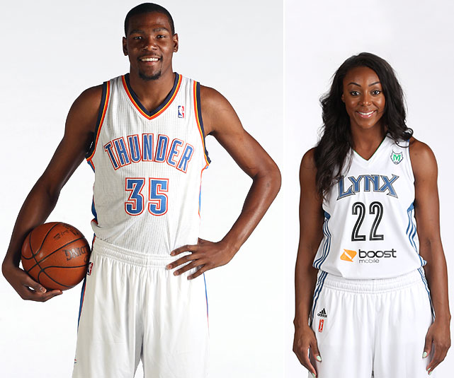Thunder All-Star forward Kevin Durant is engaged to Monica Wright, a guard for the WNBA's Minnesota Lynx. Wright confirmed the engagement after scoring a season-high 17 points in Minnesota's 91-59 victory over Phoenix on Sunday, July 8, 2013. TwinCities.com reports that the couple met while in high school at the 2006 McDonald's All-American game. Durant and Wright have reportedly been dating for a number of months.