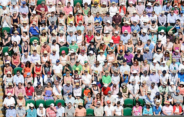 Spectators look on during the Wimbledon's women's final between Marion Bartoli and Sabine Lisicki. Bartoli won 2-0.