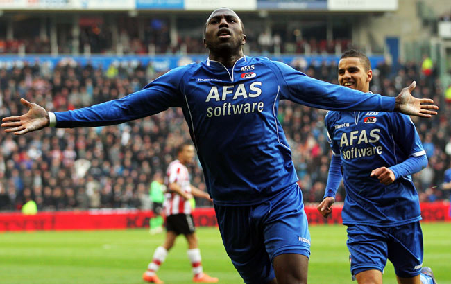 Jozy Altidore celebrates after scoring one of the 38 goals he recorded in two years for AZ Alkmaar.