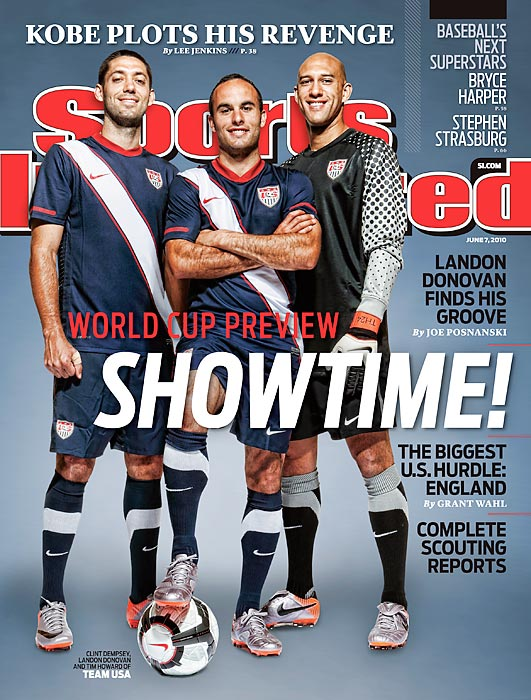 Donovan poses with Clint Dempsey (left) and Tim Howard on the cover of Sports Illustrated prior to the start of the 2010 World Cup.