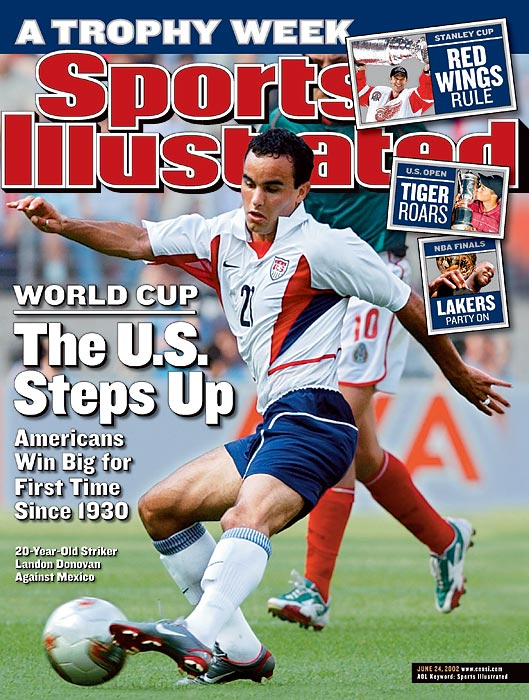 Donovan on the cover of Sports Illustrated as the national team began play in the 2002 World Cup.