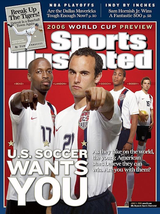Donovan, DaMarcus Beasley, Oguchi Onyewu and Bobby Convey on the cover of Sports Illustrated prior to the 2006 World Cup.