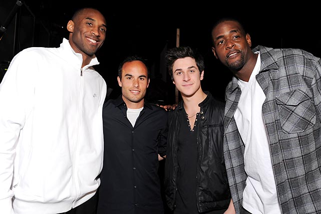Los Angeles Laker Kobe Bryant (far left), Donovan, actor David Henrie, and former NBA player Chris Webber attend the Cartoon Network Hall of Game Awards held at The Barker Hanger in Santa Monica, Calif.