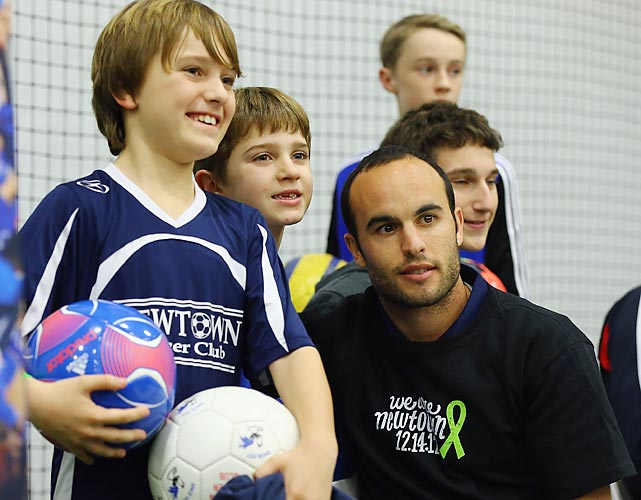 "Donovan poses for a photo during ""Soccer Night In Newtown"" at the Newtown Youth Academy Sports & Fitness Center in Connecticut."