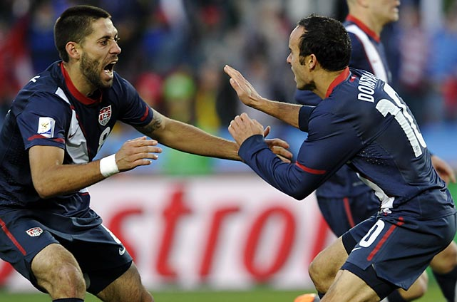 Donovan celebrates with U.S. midfielder Clint Dempsey after scoring during their 2010 FIFA World Cup group stage match vs. Slovenia at Ellis Park stadium in Johannesburg, South Africa.
