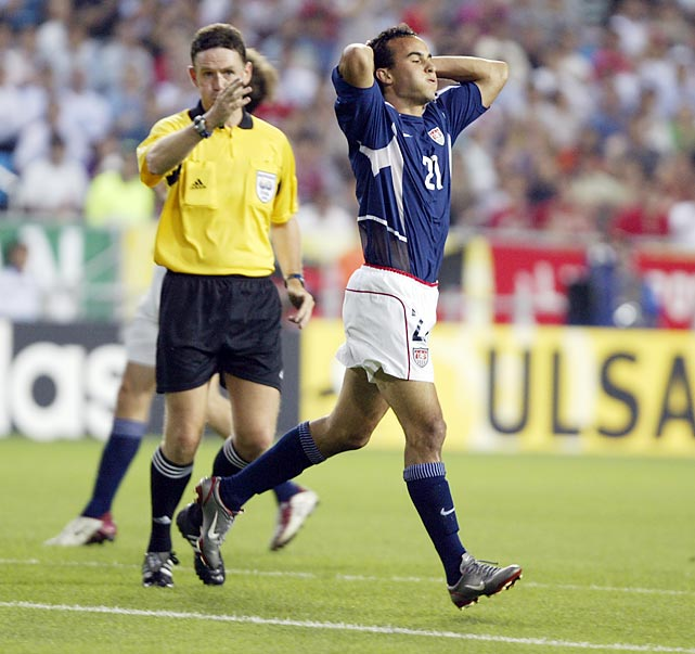A disgusted Donovan reacts after barely missing out on a goal against Germany in a quarterfinal of the 2002 World Cup. The Germans defeated the U.S. 1-0.