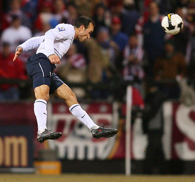 Donovan heads the ball against Mexico during a 2010 World Cup qualifying match at Crew Stadium in Columbus, Ohio. The U.S. won, 2-0.