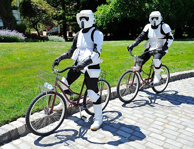 Star Wars storm troopers land during the Epic Lightsaber Relay to benefit Make-A-Wish Foundation at Skywalker Ranch in San Francisco.