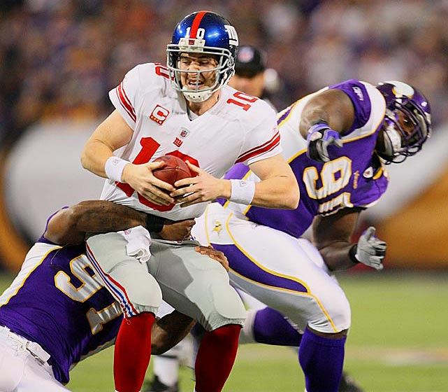 Eli Manning has played on his birthday once, losing 44-7 to Brett Favre (four TD passes) and the Vikings on a day when Eli completed 17 of 23 passes for 141 yards and one interception. The Giants lost for the eighth time in 11 games and missed the playoffs. It was the worst passing yardage game of the year for Eli, who was replaced by David Carr in the second half.