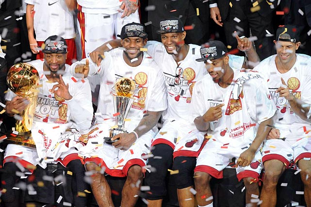 LeBron James and the Miami Heat repeated as NBA Finals champions. The Spurs were up in the series 3-2, but the Heat took Game 6 in overtime and won 95-88 in Game 7.